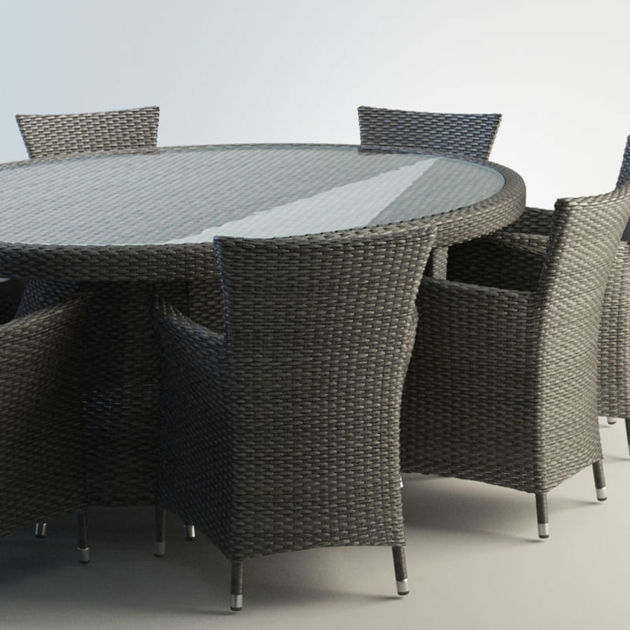 Rattan furniture set royalty-free 3d model - Preview no. 2
