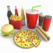 Cartoon Junk Food Meal 3d model