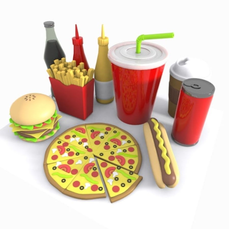 Cartoon Junk Food Meal royalty-free 3d model - Preview no. 3