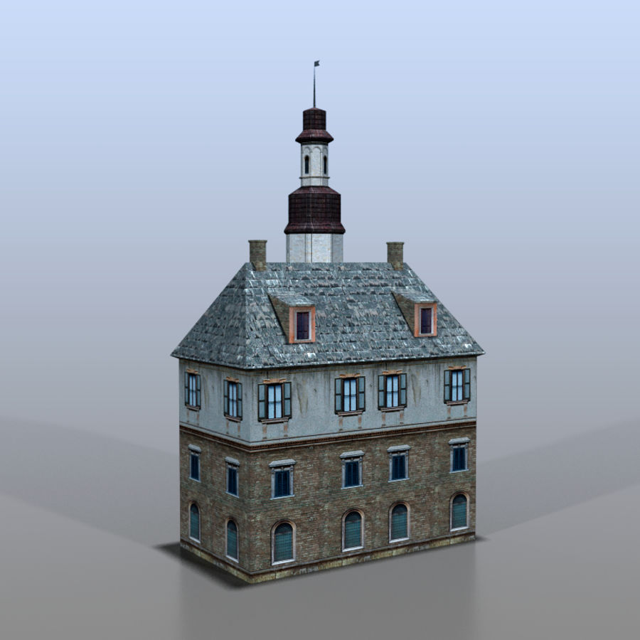 German house v3 royalty-free 3d model - Preview no. 4