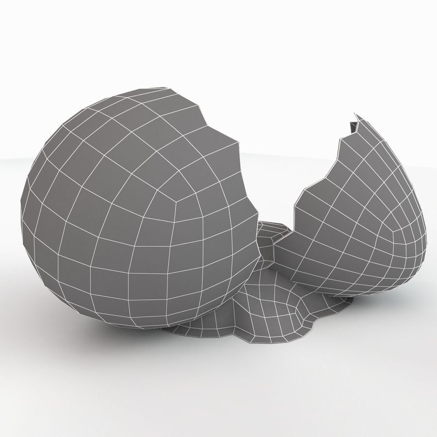 Cracked Quail Egg royalty-free 3d model - Preview no. 17