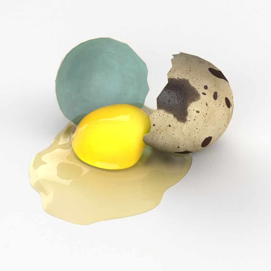 Cracked Quail Egg royalty-free 3d model - Preview no. 9