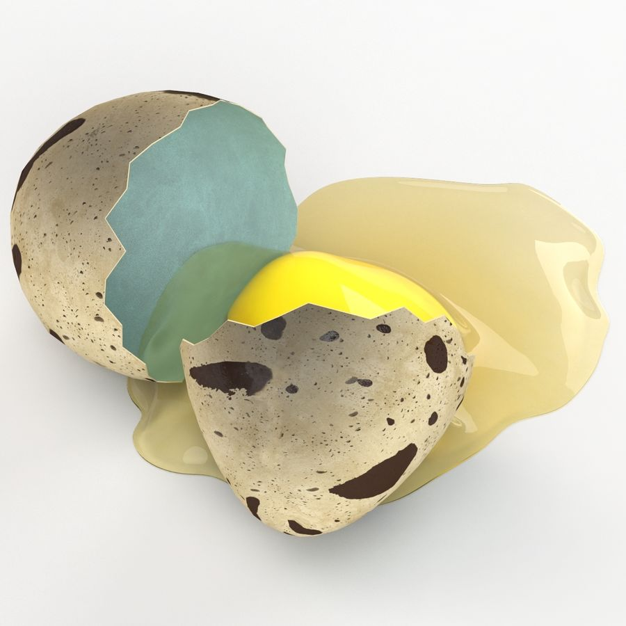 Cracked Quail Egg royalty-free 3d model - Preview no. 4