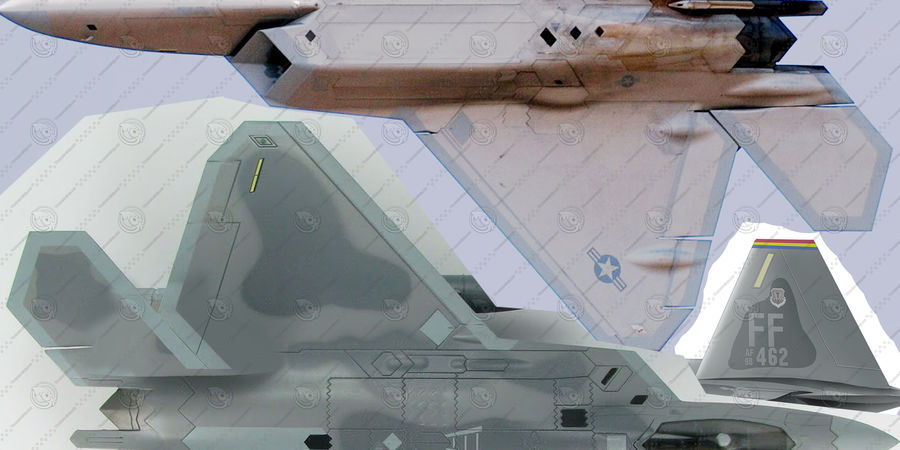 F-22 Raptor royalty-free 3d model - Preview no. 12