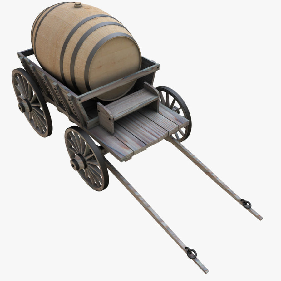 wooden cart with barrel royalty-free 3d model - Preview no. 5
