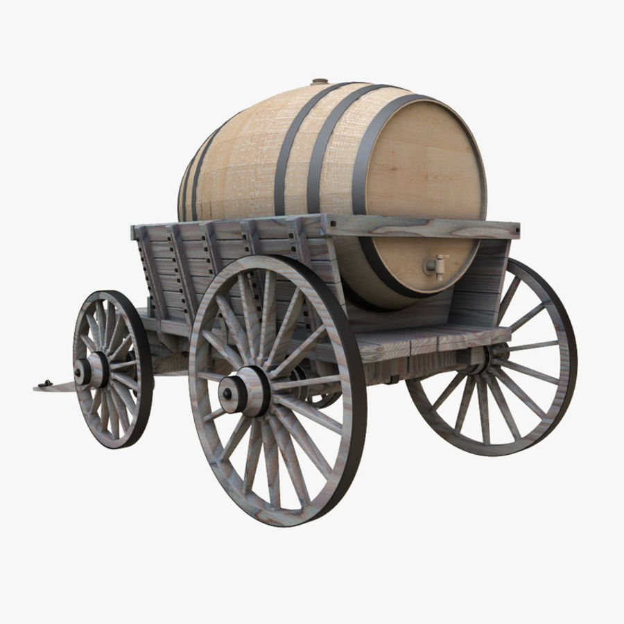 wooden cart with barrel royalty-free 3d model - Preview no. 3