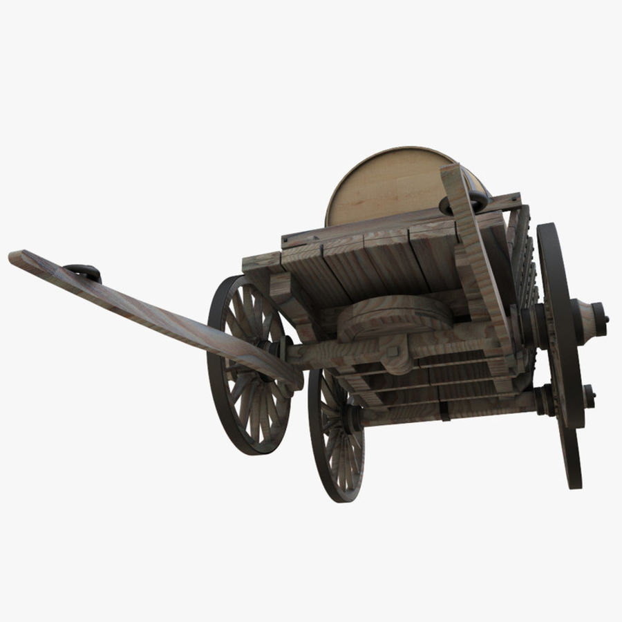 wooden cart with barrel royalty-free 3d model - Preview no. 7