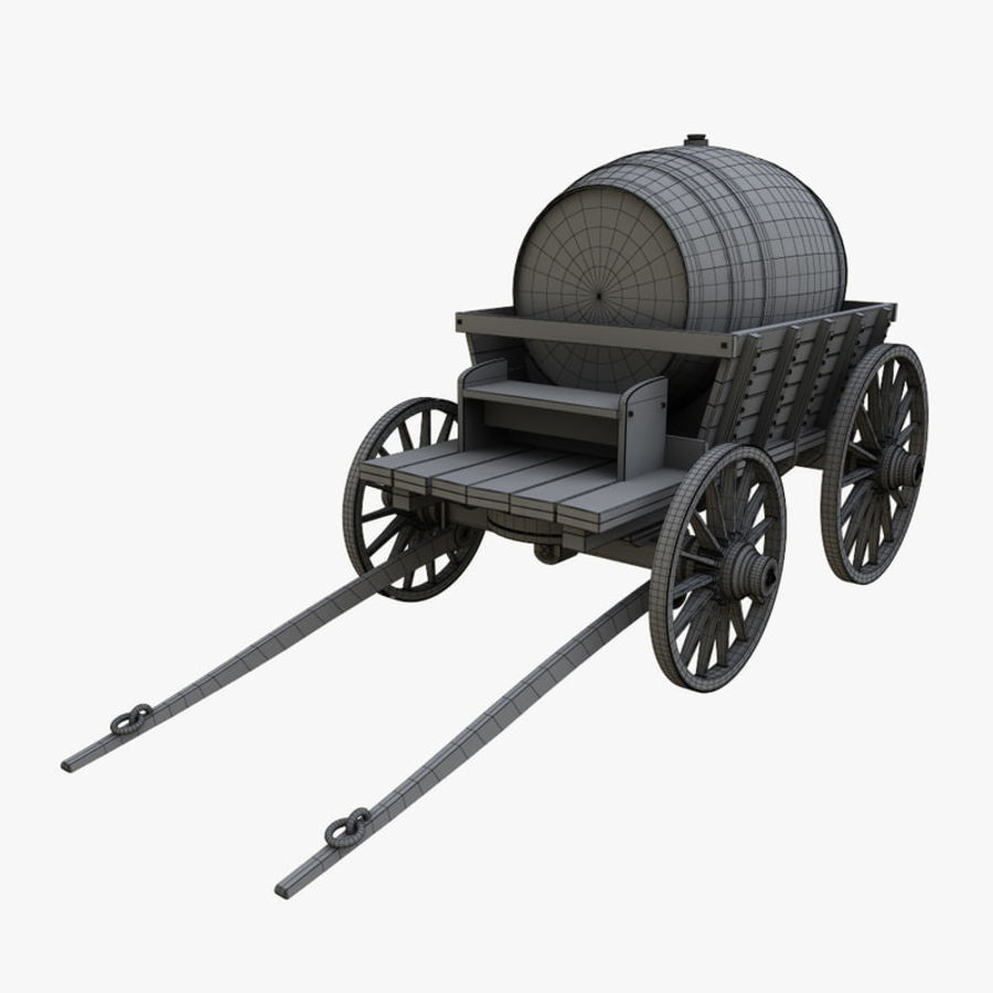 wooden cart with barrel royalty-free 3d model - Preview no. 9