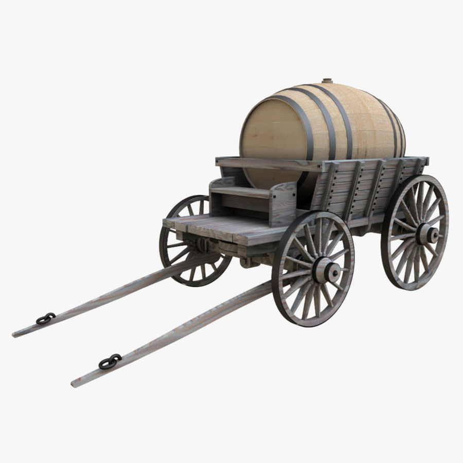 wooden cart with barrel royalty-free 3d model - Preview no. 2
