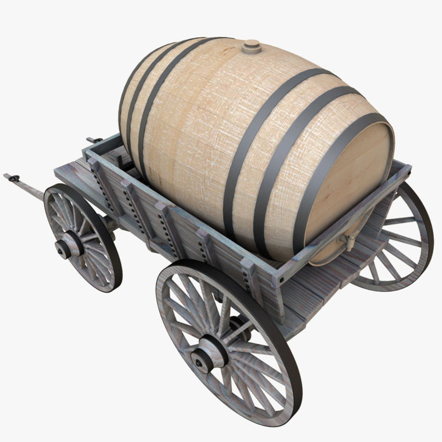 wooden cart with barrel royalty-free 3d model - Preview no. 6