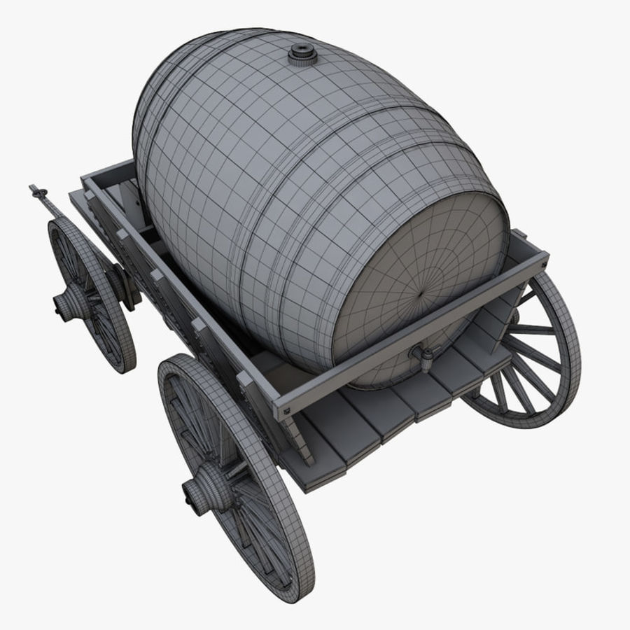 wooden cart with barrel royalty-free 3d model - Preview no. 10