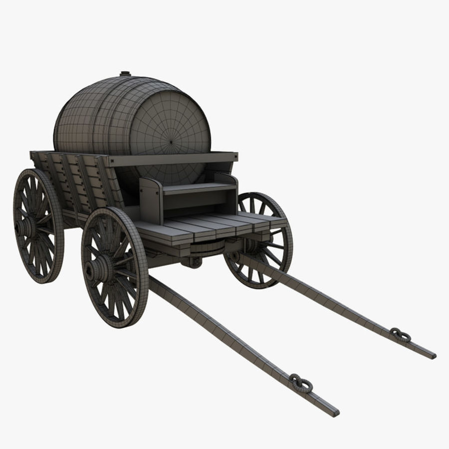 wooden cart with barrel royalty-free 3d model - Preview no. 8