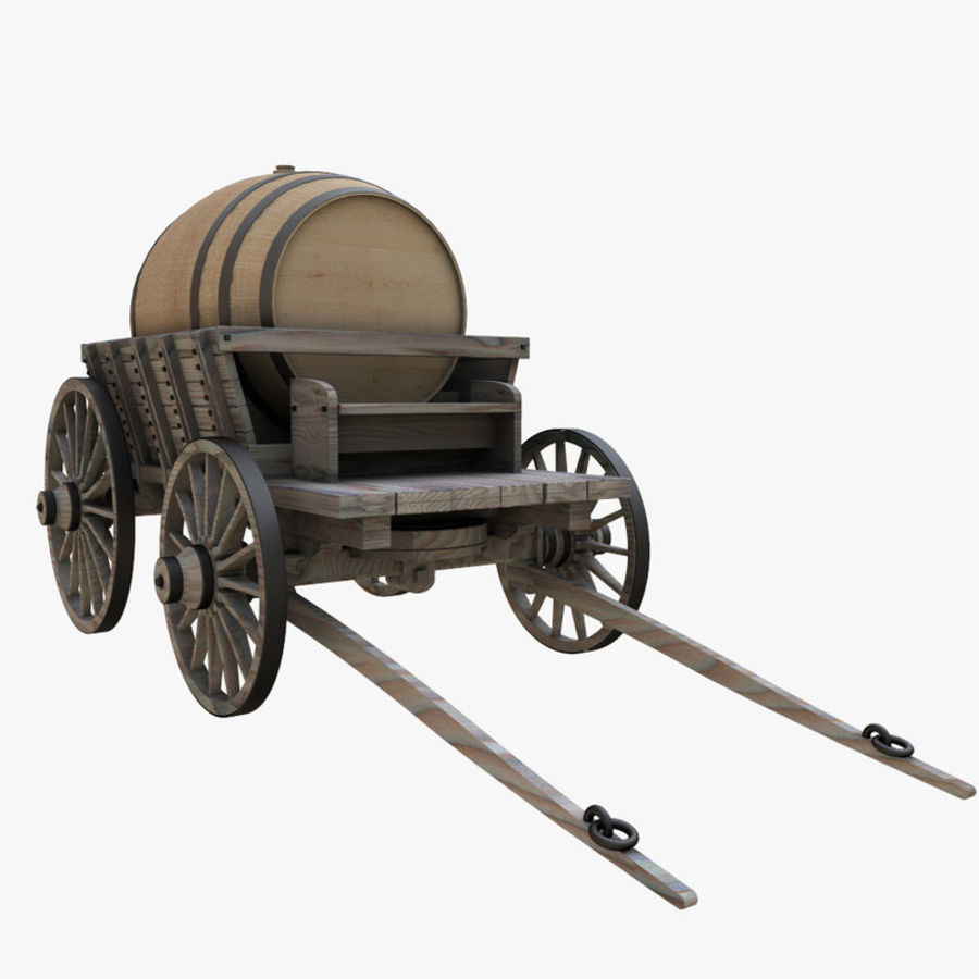 wooden cart with barrel royalty-free 3d model - Preview no. 1