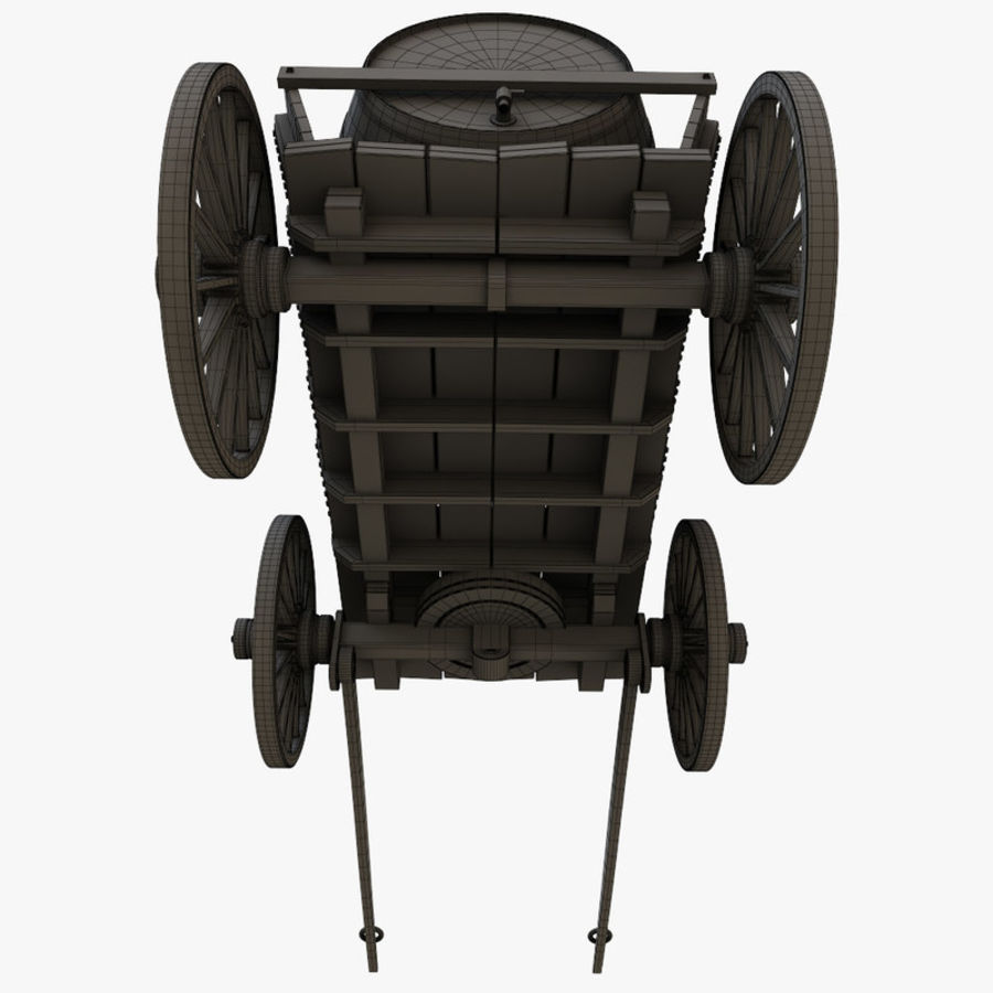 wooden cart with barrel royalty-free 3d model - Preview no. 11