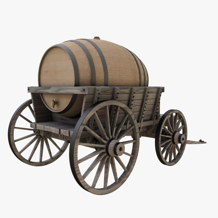 wooden cart with barrel royalty-free 3d model - Preview no. 4