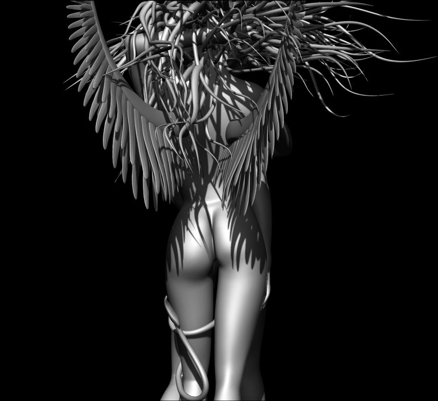Angel demon statue royalty-free 3d model - Preview no. 12