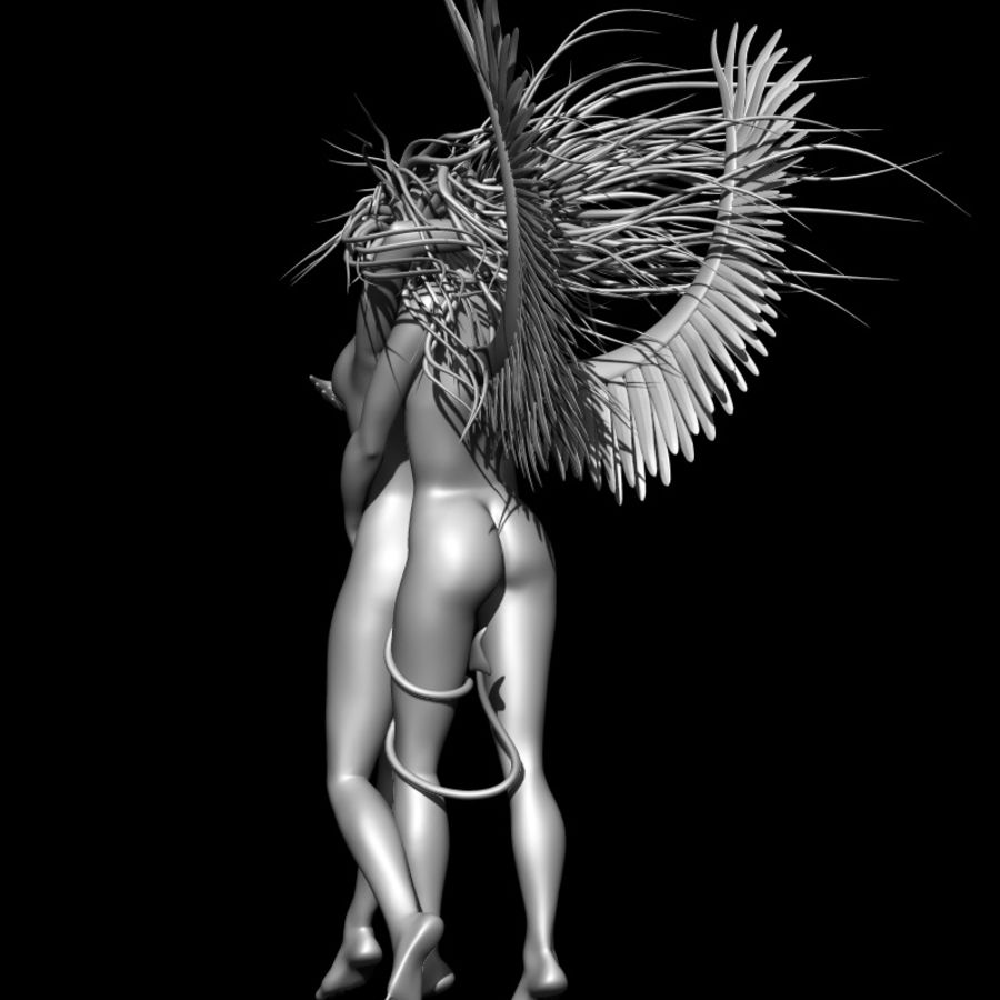 Angel demon statue royalty-free 3d model - Preview no. 14