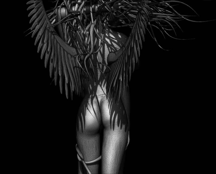 Angel demon statue royalty-free 3d model - Preview no. 8