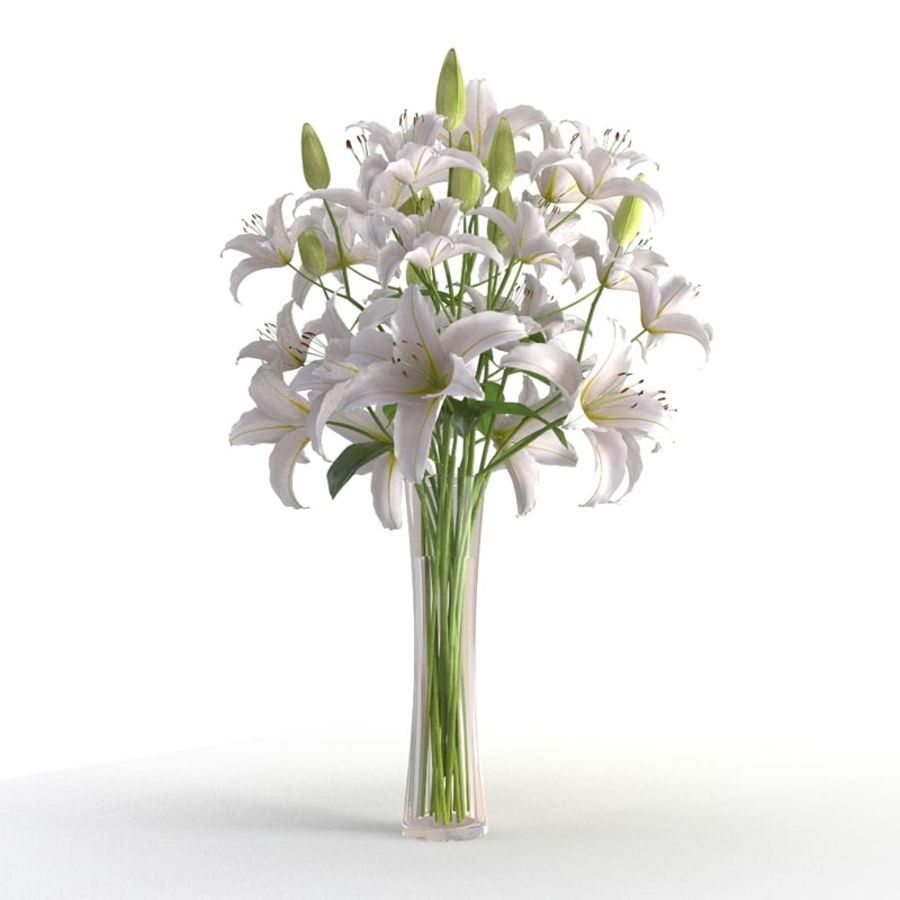 Lily white flower vase 3d model 19 x obj fbx free3d lily white flower vase royalty free 3d model preview no 2 izmirmasajfo