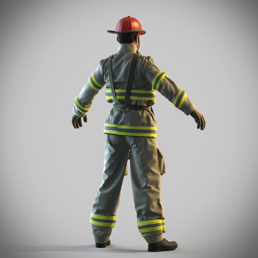 Fireman royalty-free 3d model - Preview no. 8