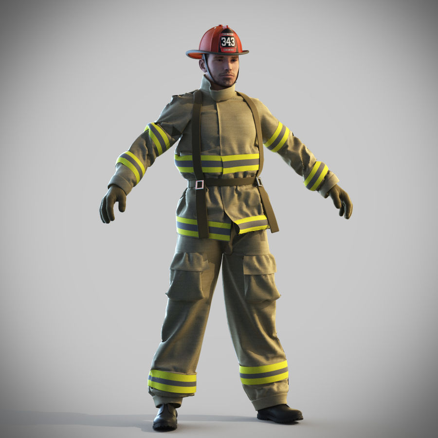 Fireman royalty-free 3d model - Preview no. 1