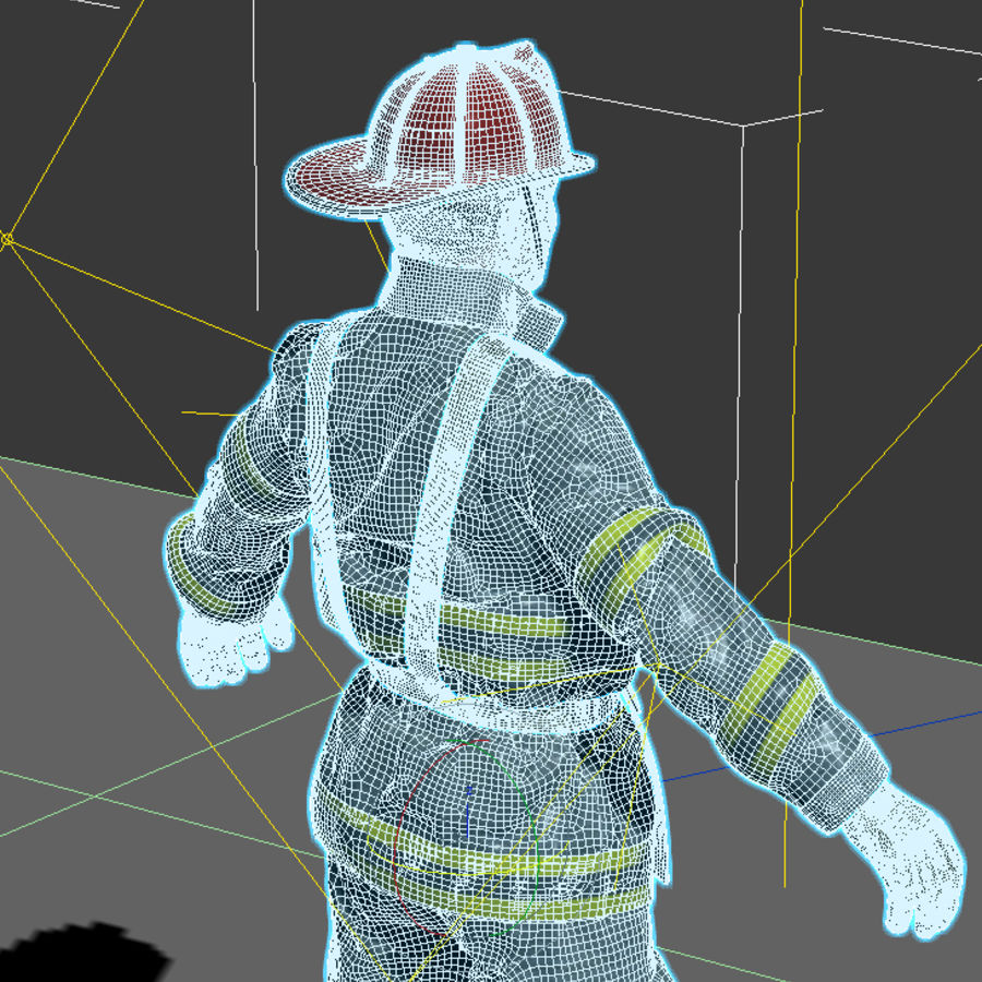 Fireman royalty-free 3d model - Preview no. 4