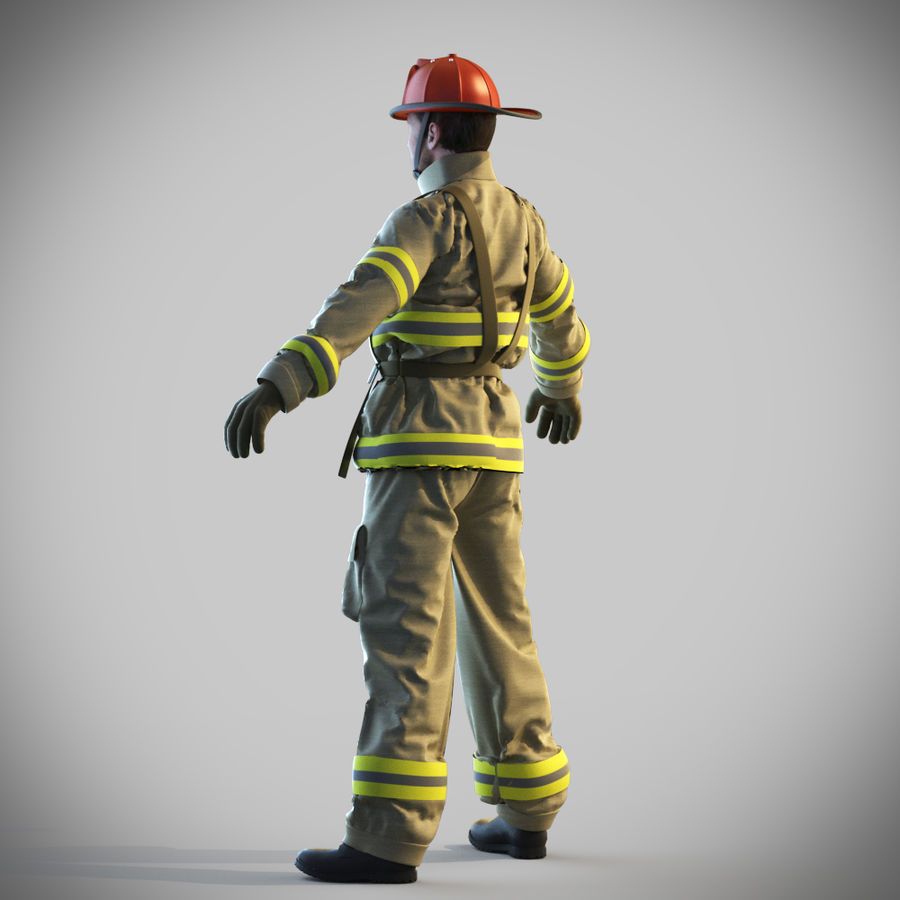 Fireman royalty-free 3d model - Preview no. 5