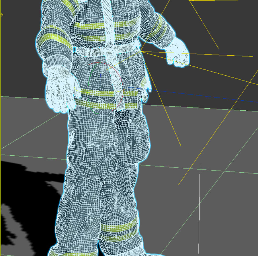 Fireman royalty-free 3d model - Preview no. 2