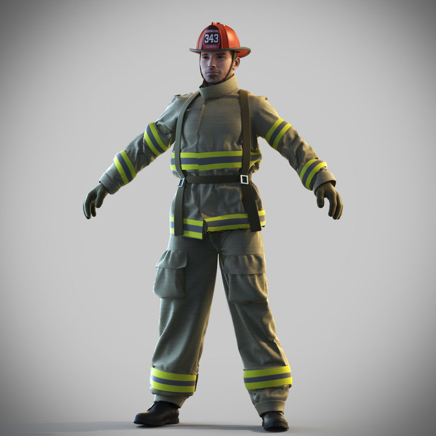 Fireman royalty-free 3d model - Preview no. 10