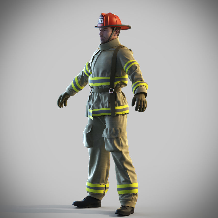 Fireman royalty-free 3d model - Preview no. 3