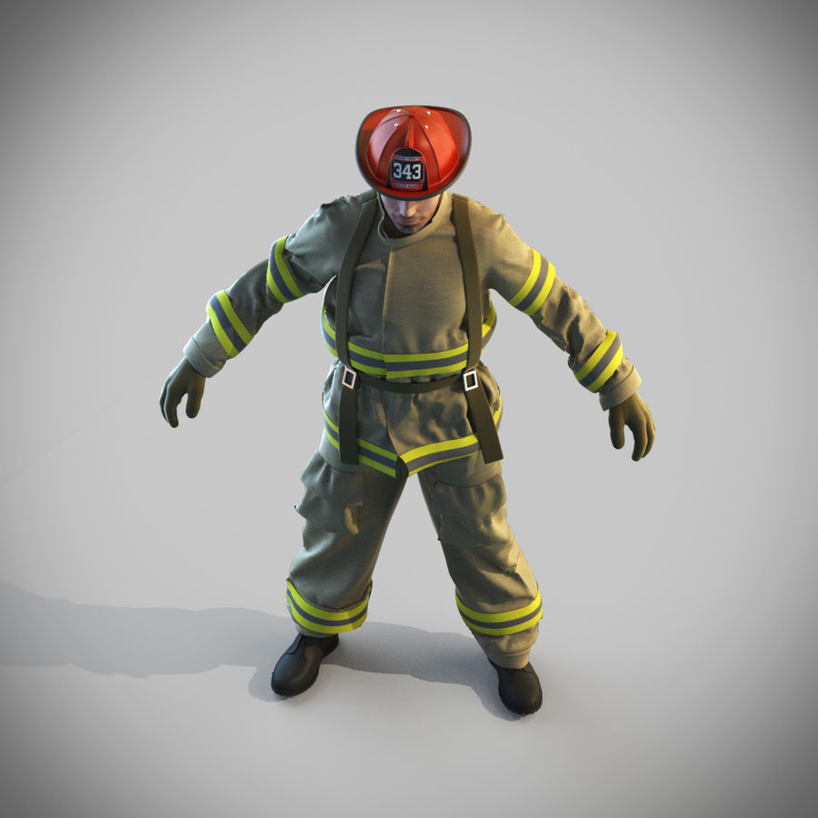 Fireman royalty-free 3d model - Preview no. 11