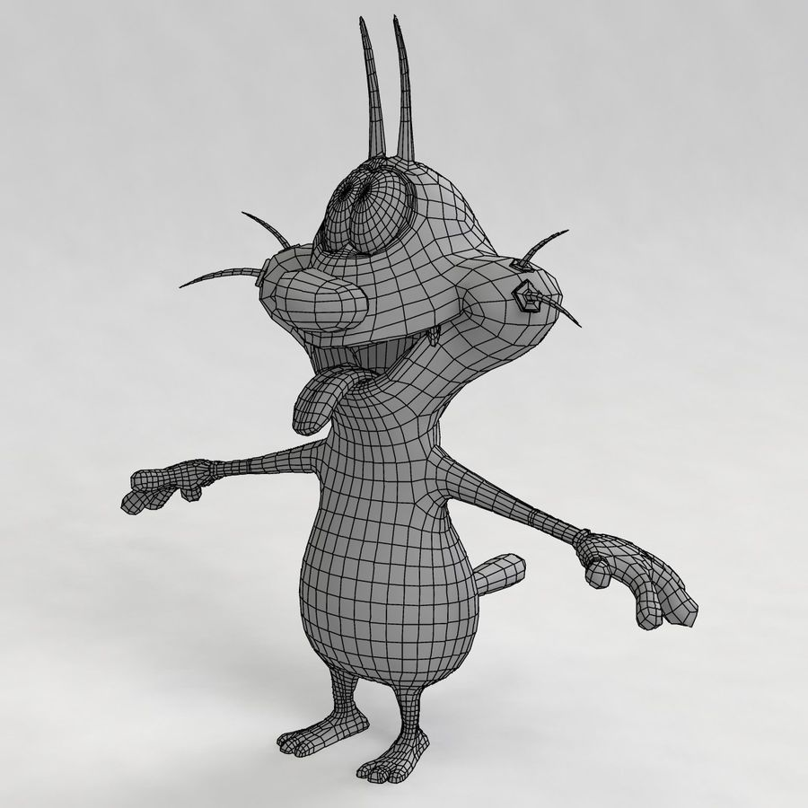 Oggy Cat royalty-free modelo 3d - Preview no. 14