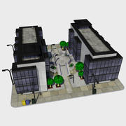 Cartoon Low Poly City Building Tile 3 - Промышленный парк Центр 3d model