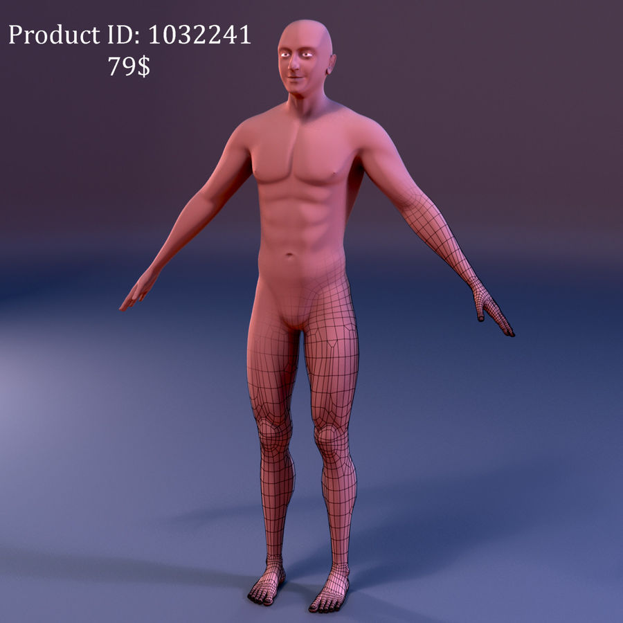 Pied masculin [maillage de base] royalty-free 3d model - Preview no. 6