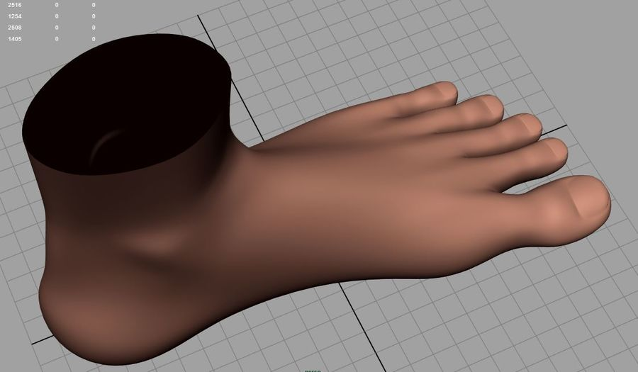 Pied masculin [maillage de base] royalty-free 3d model - Preview no. 4