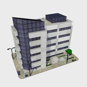 Мультфильм низкополигональная современный город здание плитка 2 - офис кондо магазин 3d model