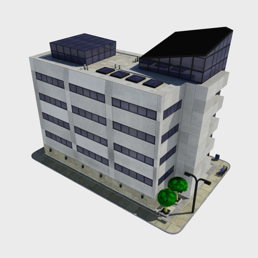 Cartoon Low Poly Modern City Building Tile 2 Office Condo Store 3d