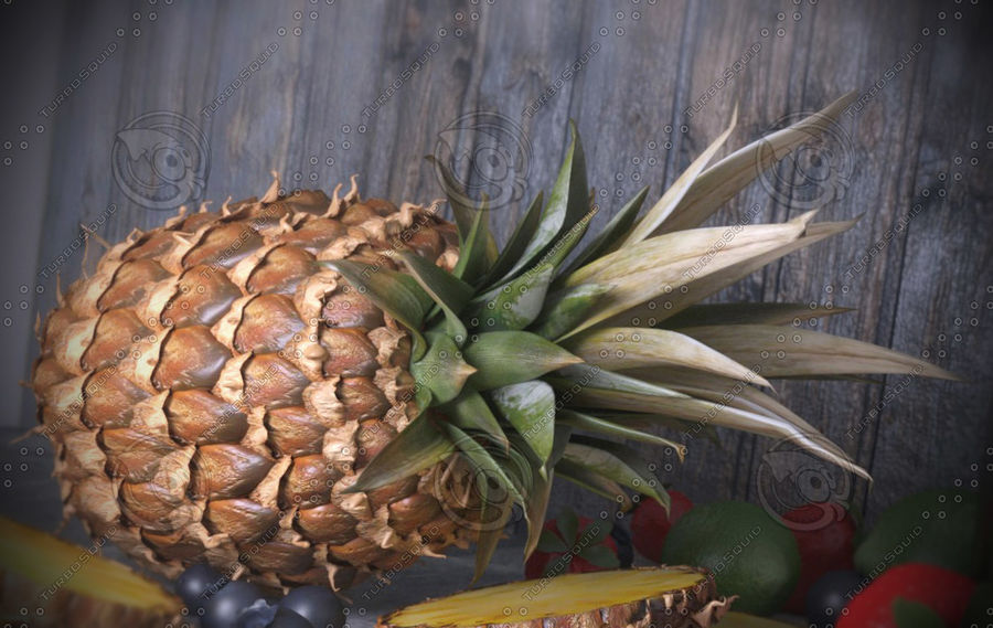 Realistic Pineapple royalty-free 3d model - Preview no. 4