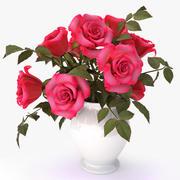 roses pink bouquet 3d model