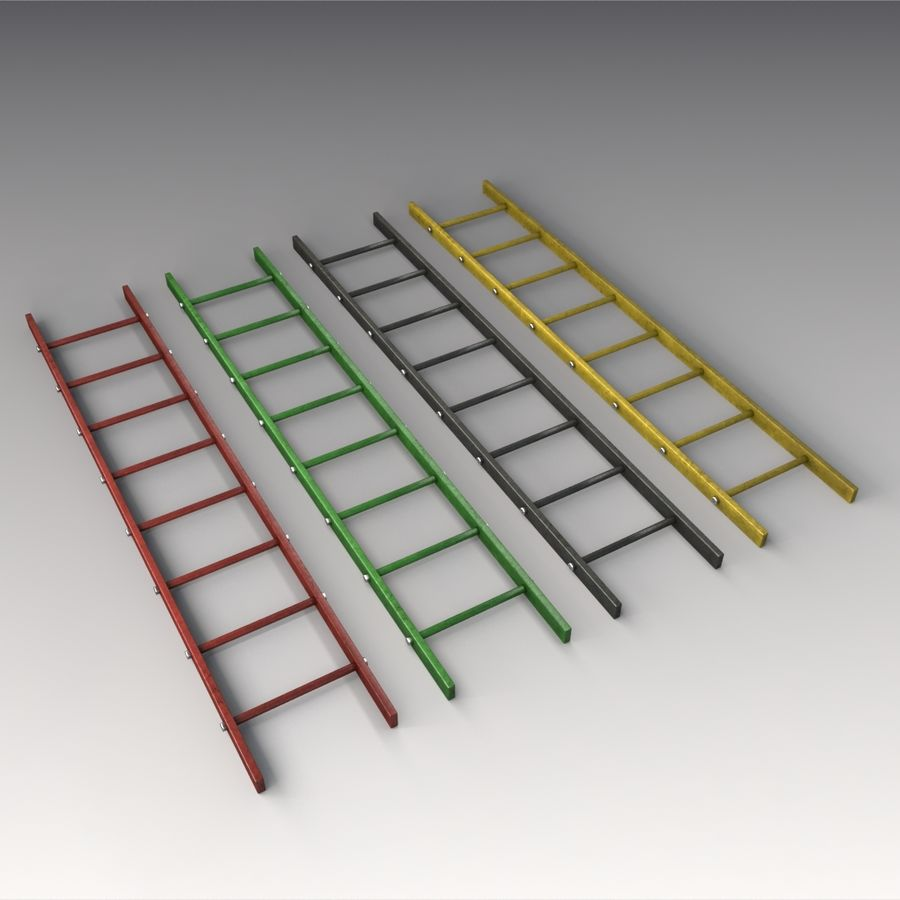 Red Ladder royalty-free 3d model - Preview no. 7