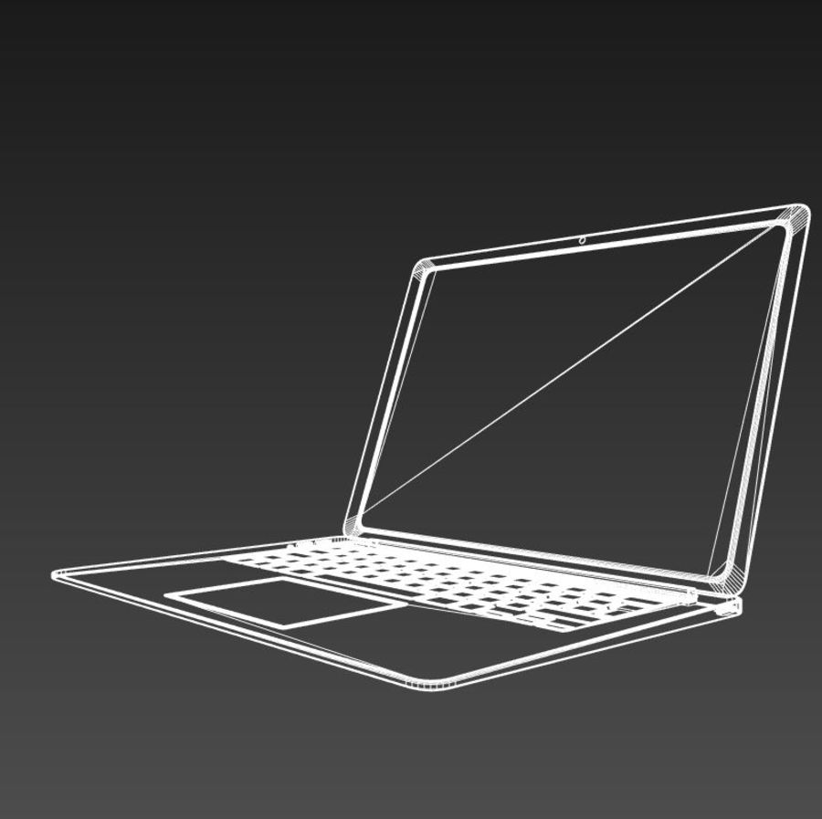 laptop slim royalty-free 3d model - Preview no. 7