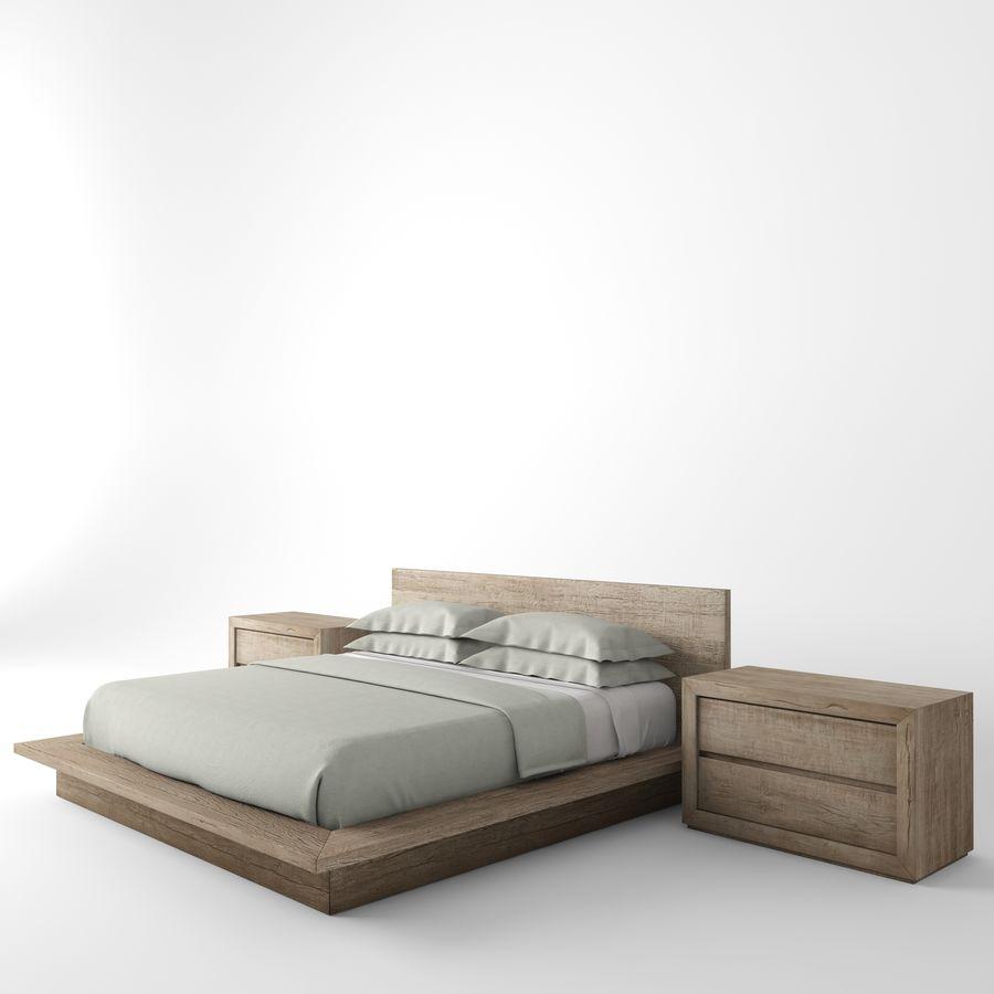 RECLAIMED RUSSIAN OAK PLATFORM BED royalty-free 3d model - Preview no. 4