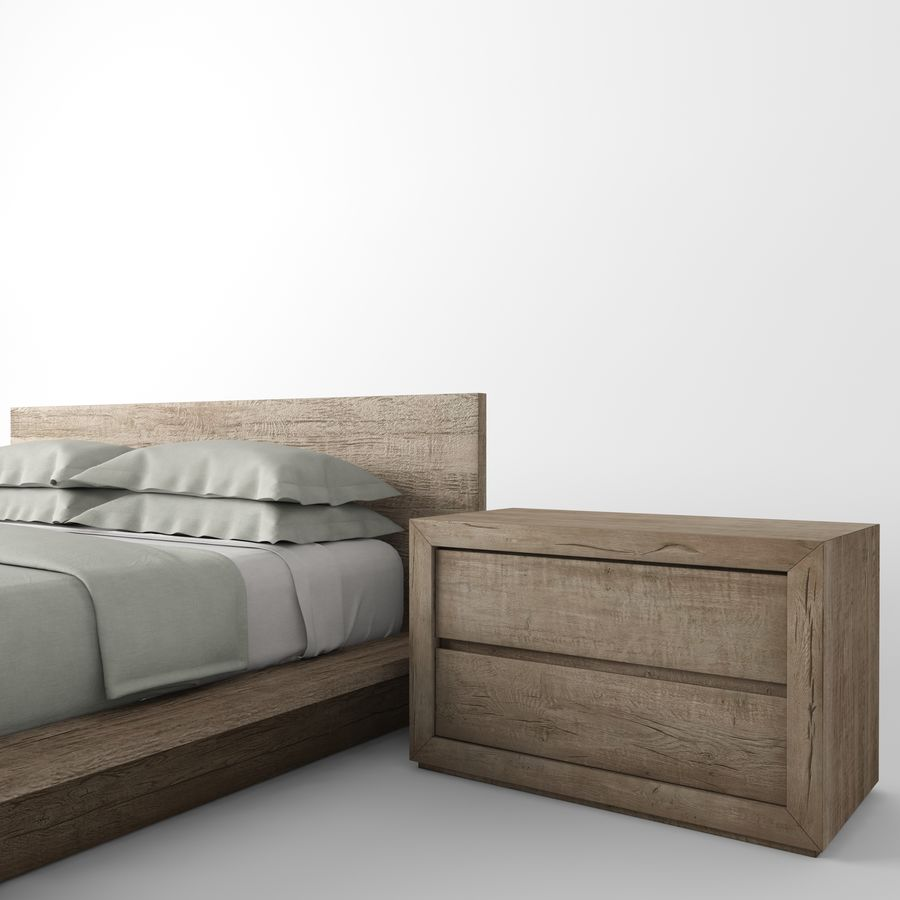 RECLAIMED RUSSIAN OAK PLATFORM BED royalty-free 3d model - Preview no. 5
