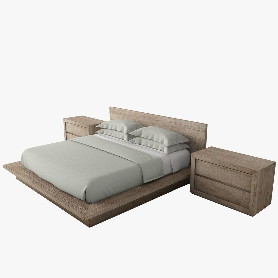 RECLAIMED RUSSIAN OAK PLATFORM BED royalty-free 3d model - Preview no. 1