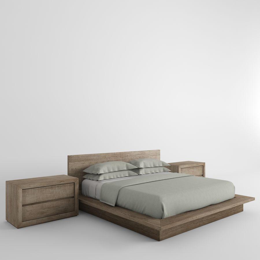 RECLAIMED RUSSIAN OAK PLATFORM BED royalty-free 3d model - Preview no. 2