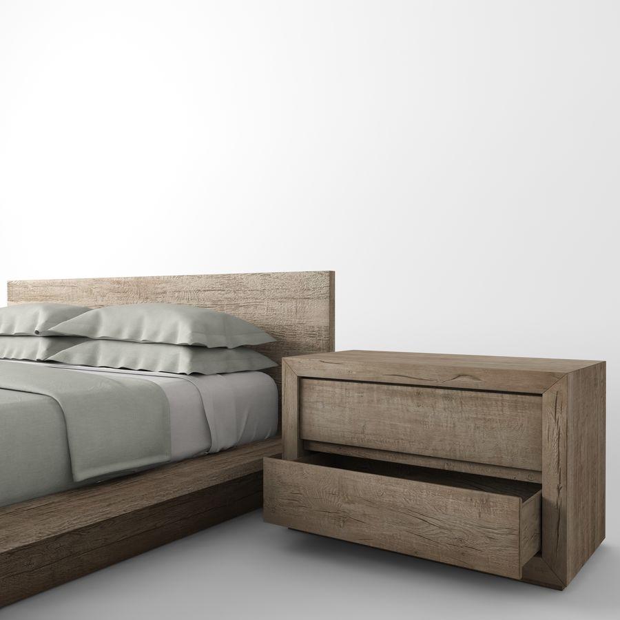 RECLAIMED RUSSIAN OAK PLATFORM BED royalty-free 3d model - Preview no. 6