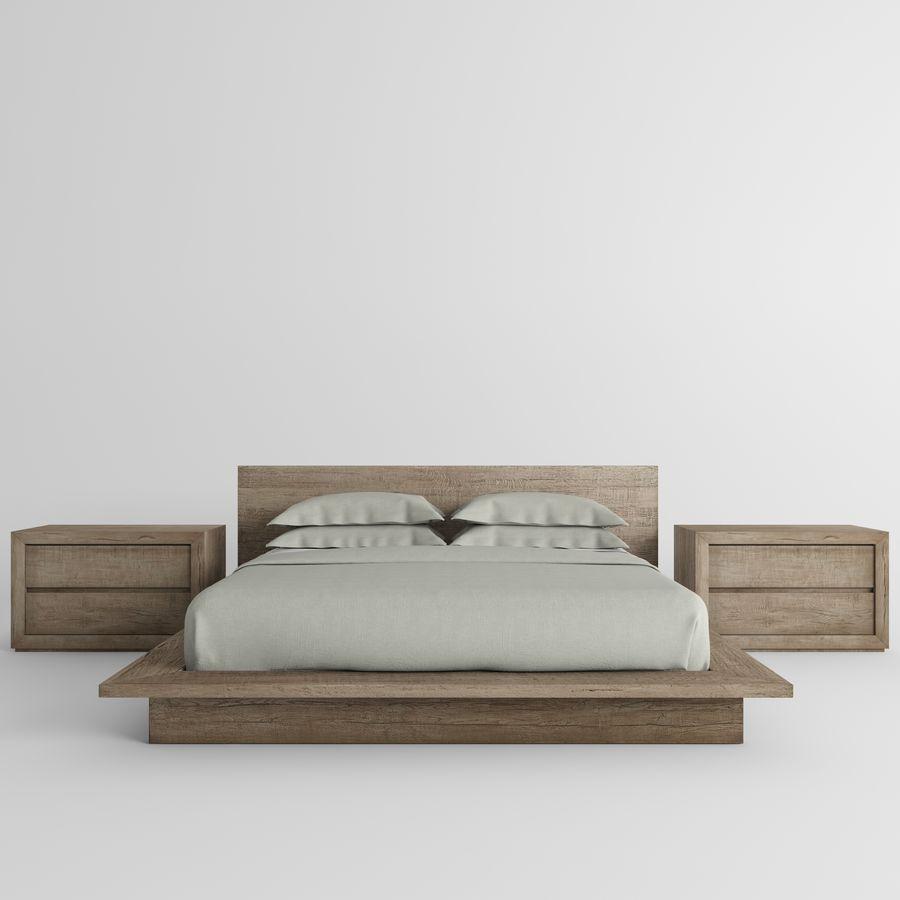 RECLAIMED RUSSIAN OAK PLATFORM BED royalty-free 3d model - Preview no. 3