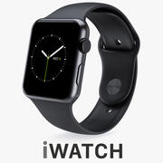 Apple Watch 42mm Space Black Stainless Steel Case with Black Sport Band 3d model