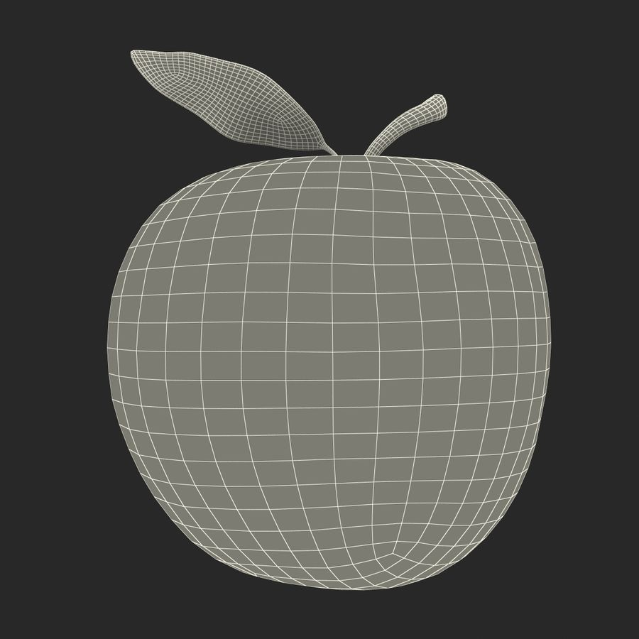 Apple Fruit With Green Leaf royalty-free 3d model - Preview no. 24