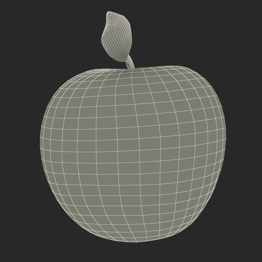 Apple Fruit With Green Leaf royalty-free 3d model - Preview no. 23